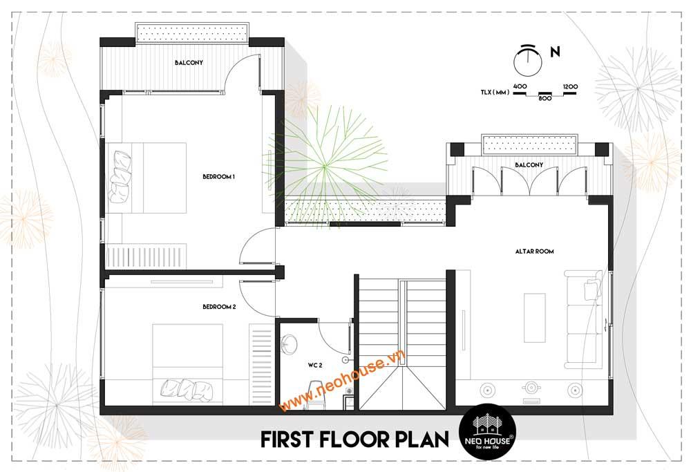 Mặt bằng công năng lầu 1 biệt thự 2 tầng mái thái