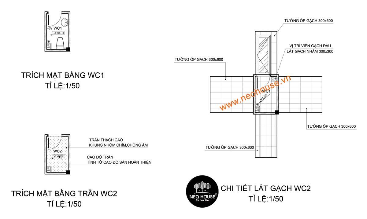 Trích mặt bằng WC1 & mặt bằng WC2 và chi tiết lát gạch WC2