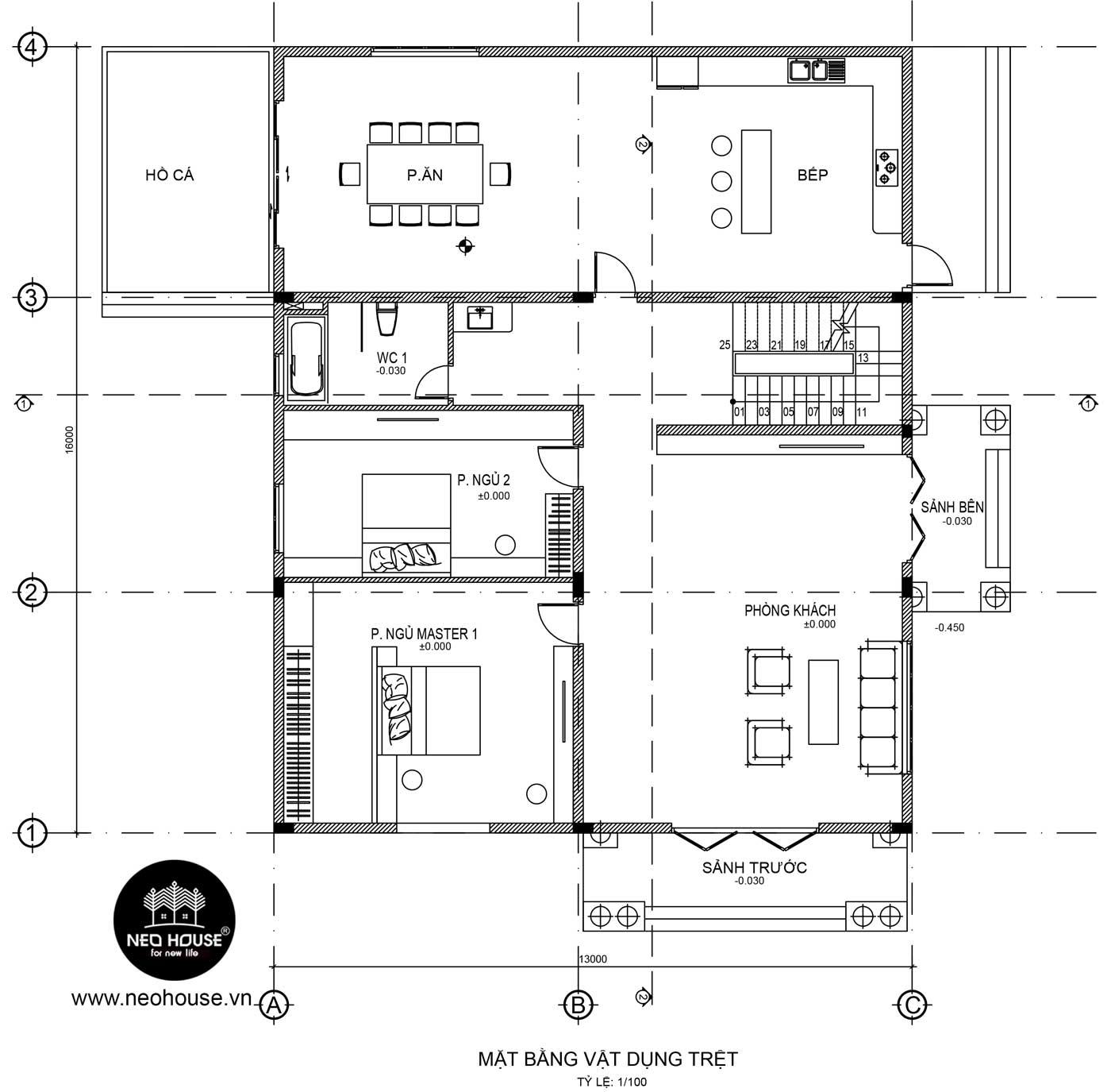 Mặt bằng biệt thự 3 tầng bán cổ điển