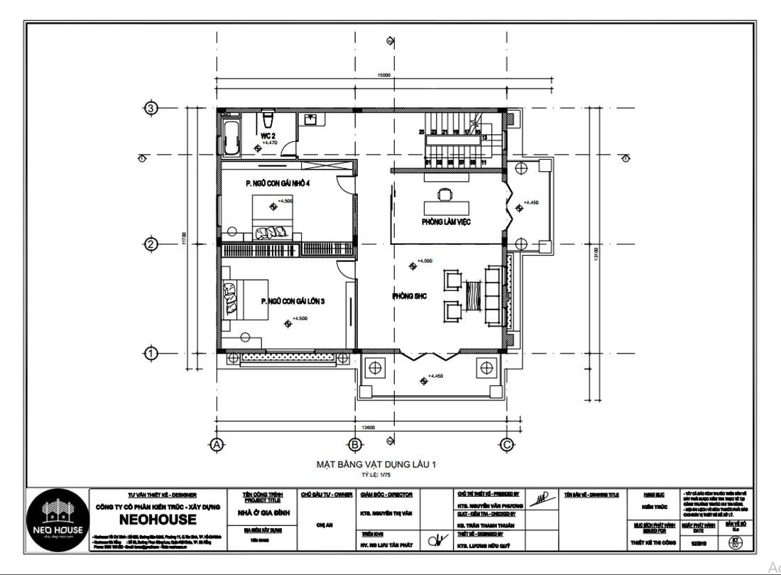 Mặt bằng công năng lầu 1 biệt thự 3 tầng bán cổ điển