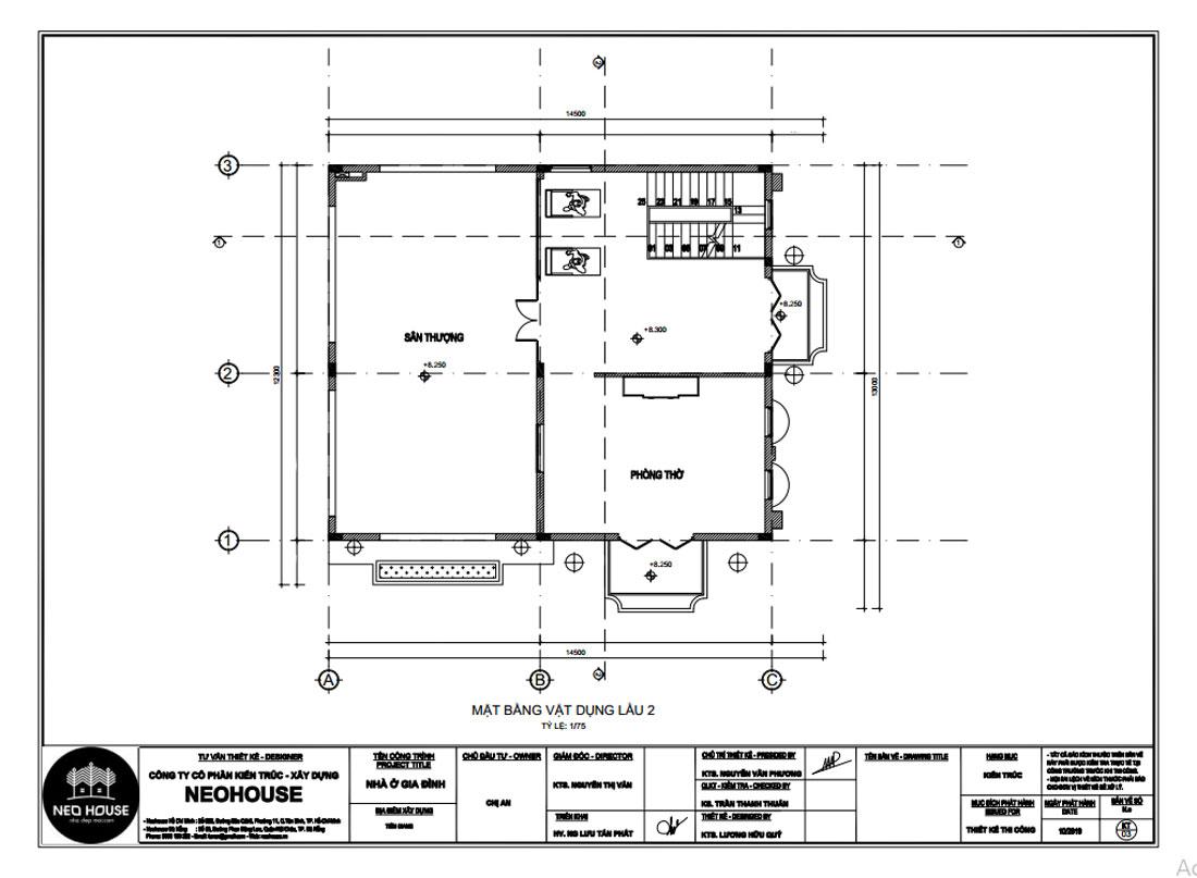 Mặt bằng công năng lầu 2 biệt thự 3 tầng bán cổ điển