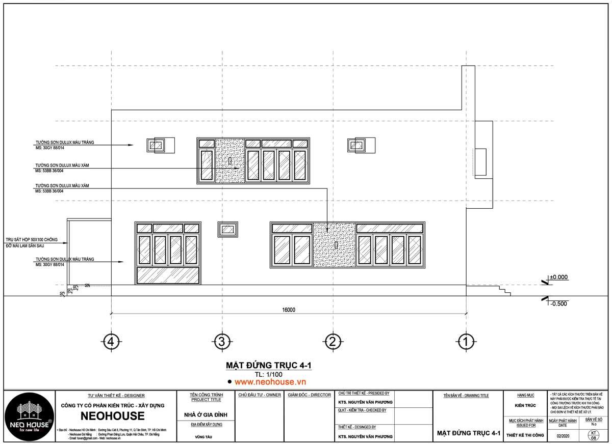 Mặt đứng trục 4-1 nhà phố 2 tầng