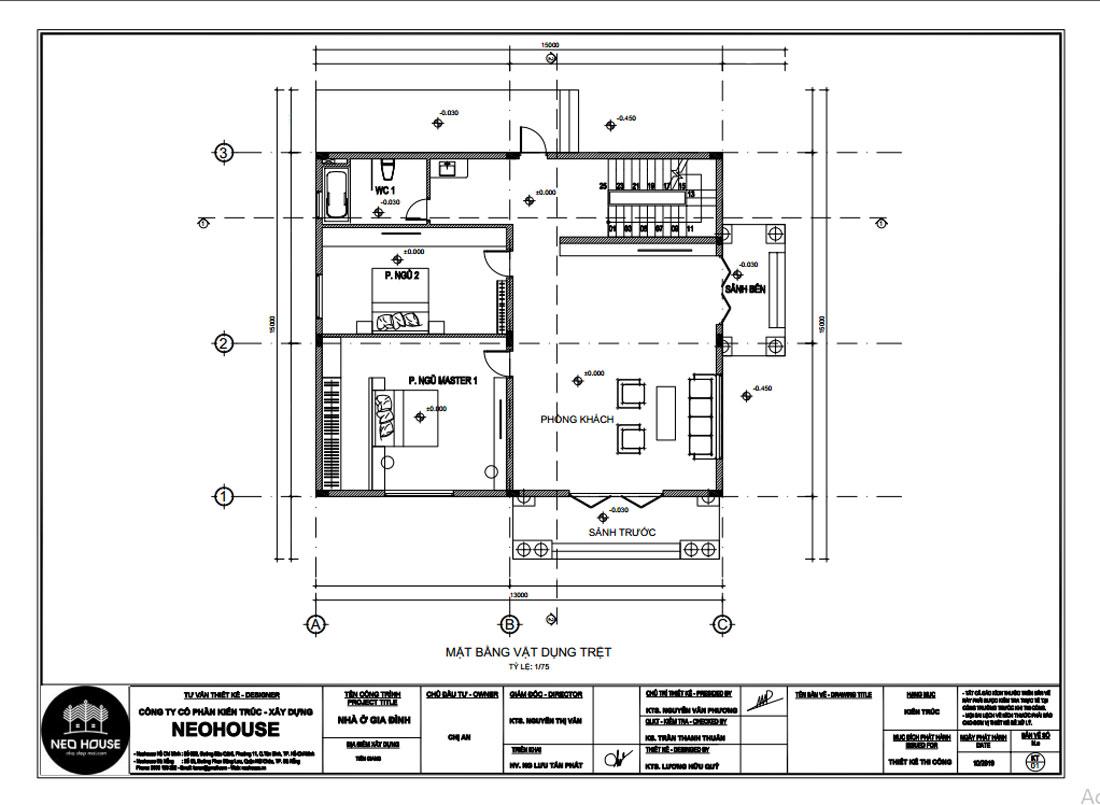 Mặt bằng công năng tầng trệt biệt thự 3 tầng bán cổ điển