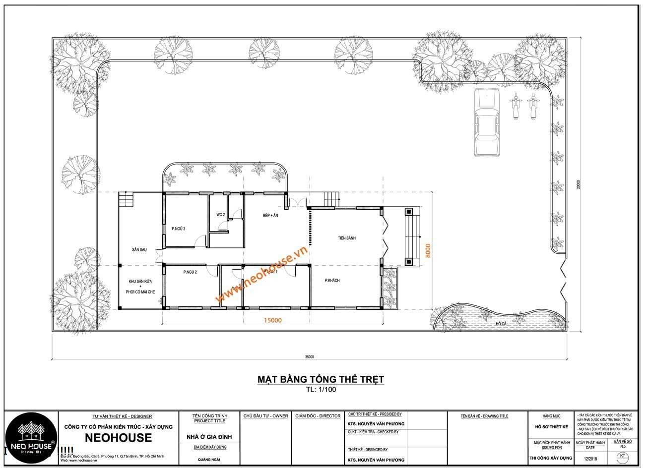 Bản vẽ nhà 1 tầng 8x15m