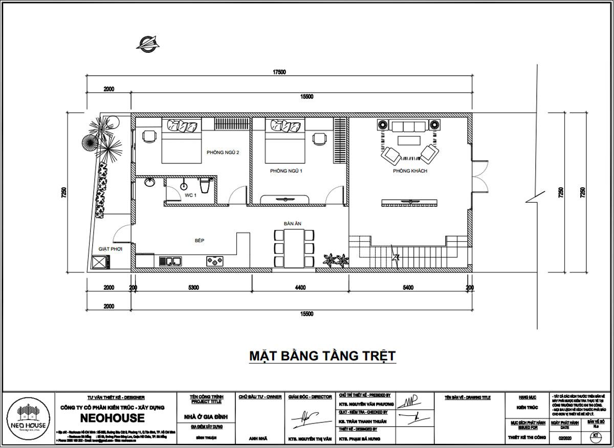 Mặt bằng tầng trệt thiết kế nhà phố mặt tiền 7m hiện đại