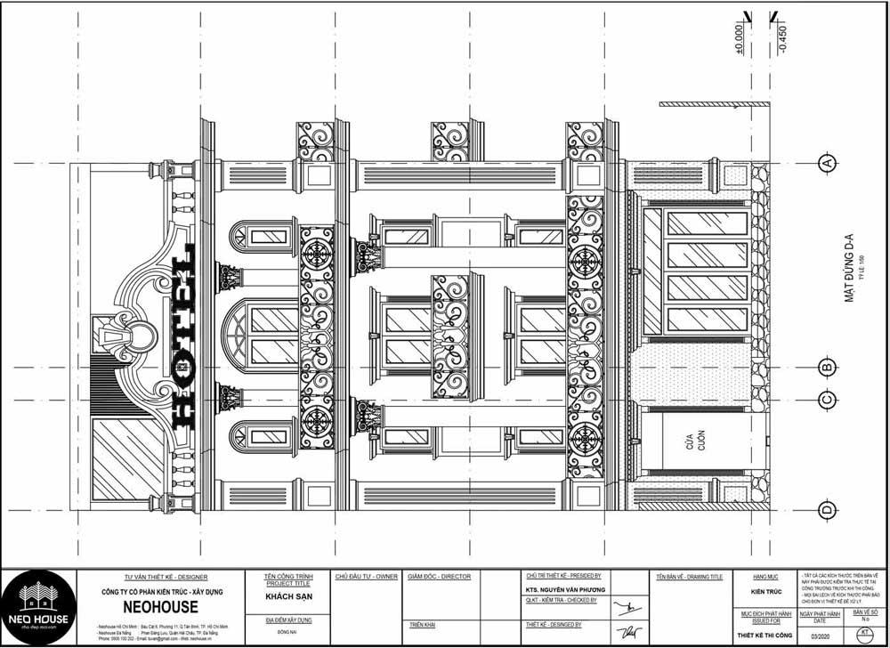 Mặt đứng D-A thiết kế khách sạn kiểu pháp 5 tầng