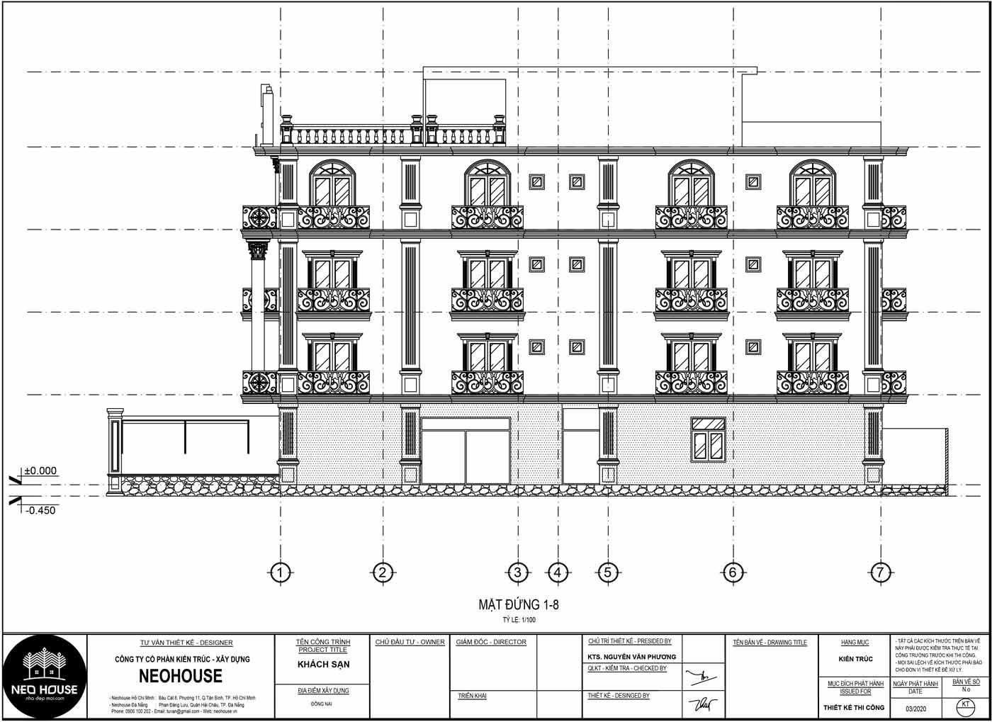 Mặt đứng 1-8 thiết kế khách sạn kiểu pháp 5 tầng