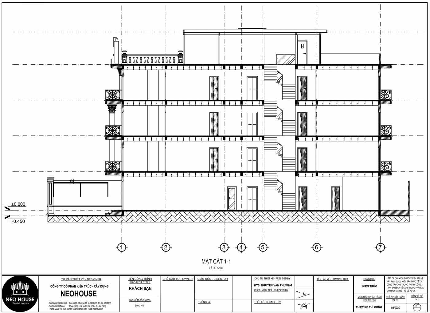 Mặt cắt 1-1 thiết kế khách sạn kiểu pháp 5 tầng