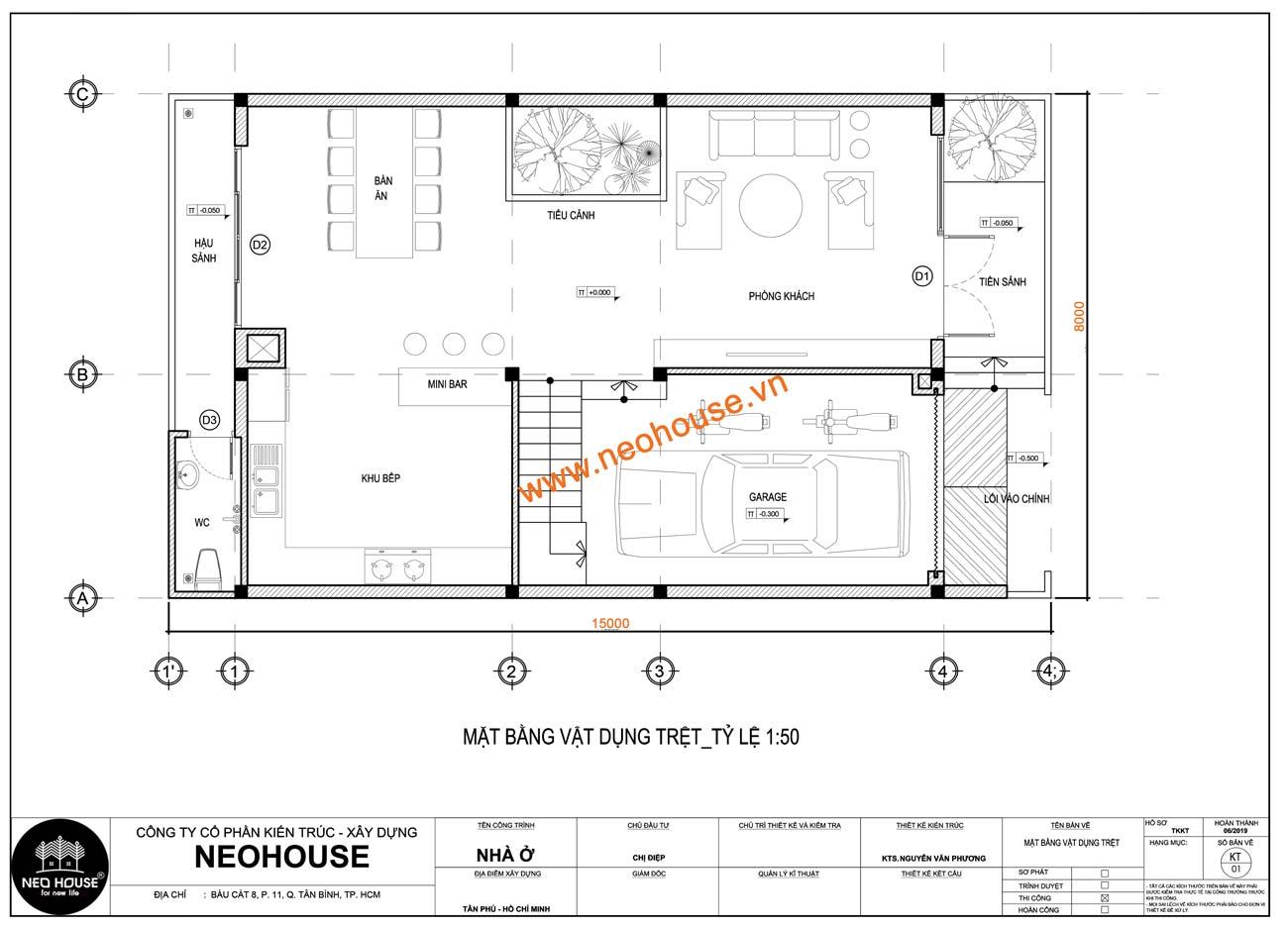 Mặt bằng trệt nhà phố 8x15m 3 tầng