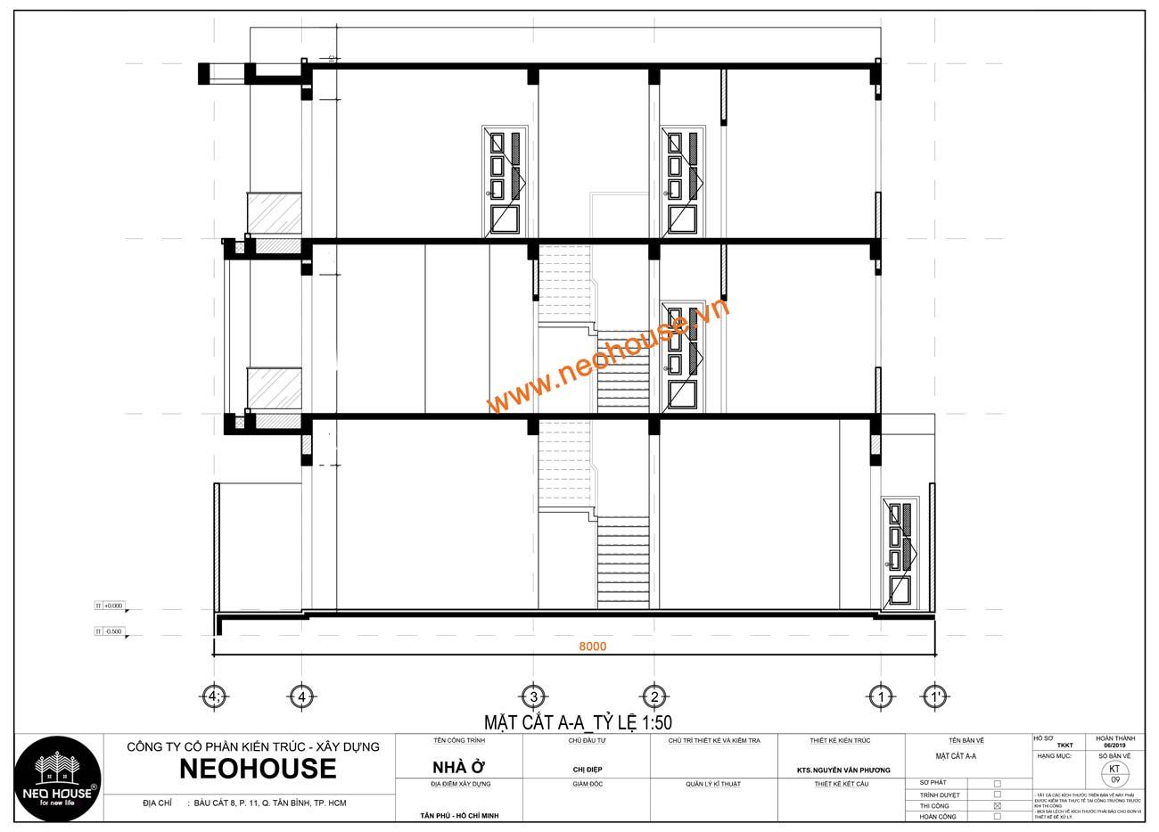 Mặt cắt nhà phố 8x15m 3 tầng
