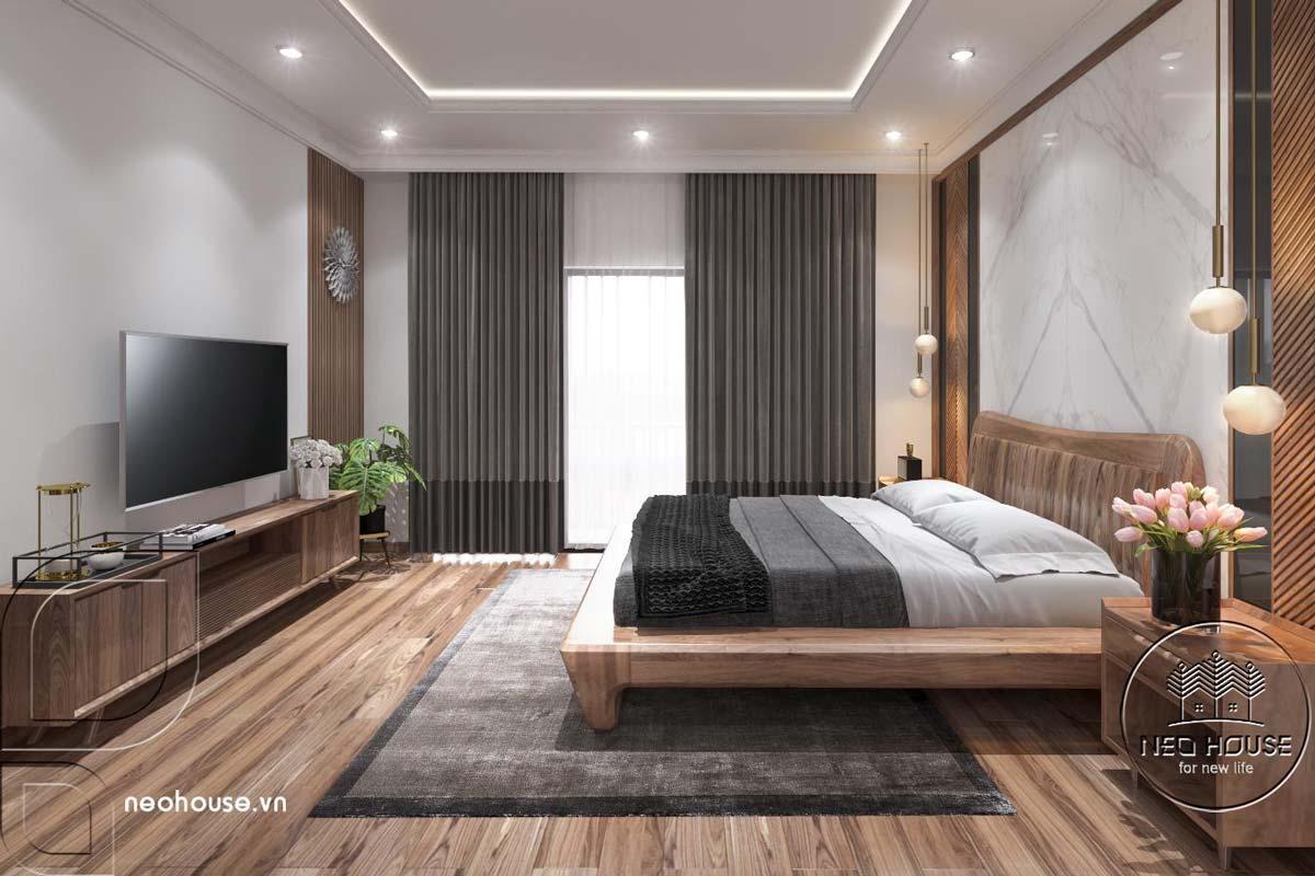 Thiết kế nội thất phòng ngủ Master nhà phố 3 tầng hiện đại