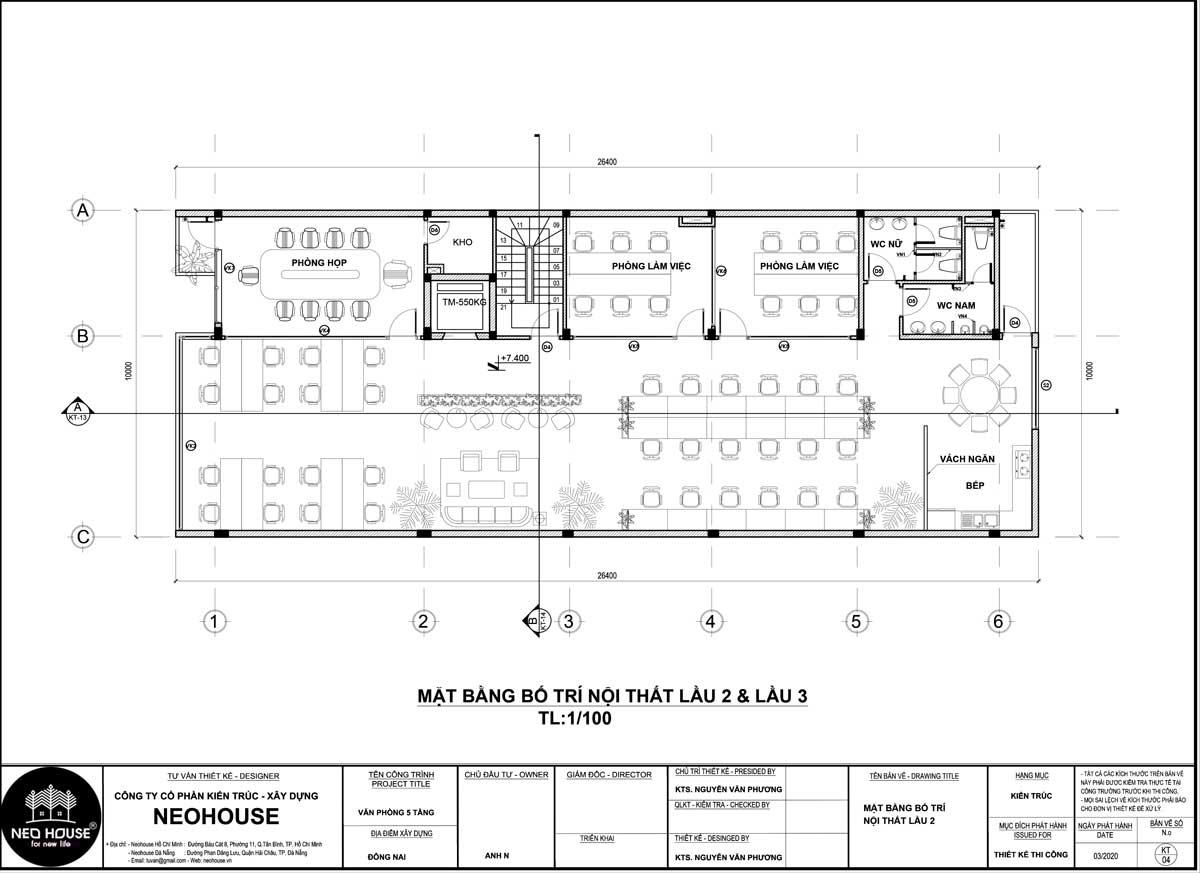 Mặt bằng lầu 2 và lầu 3 thiết kế văn phòng làm việc 5 tầng