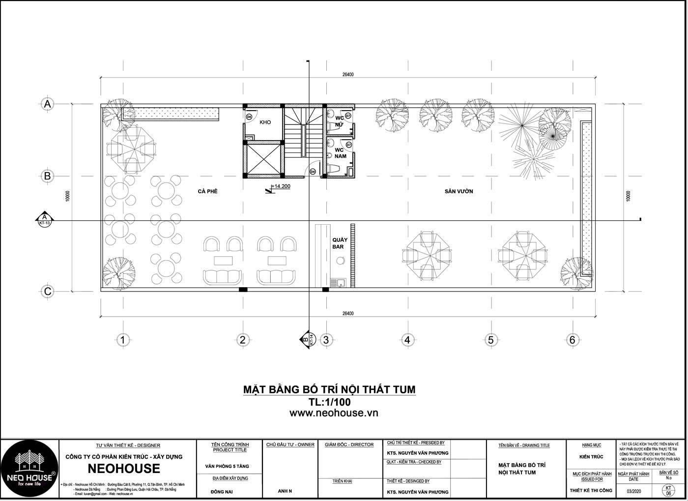 Mặt bằng tầng tum thiết kế văn phòng làm việc 5 tầng