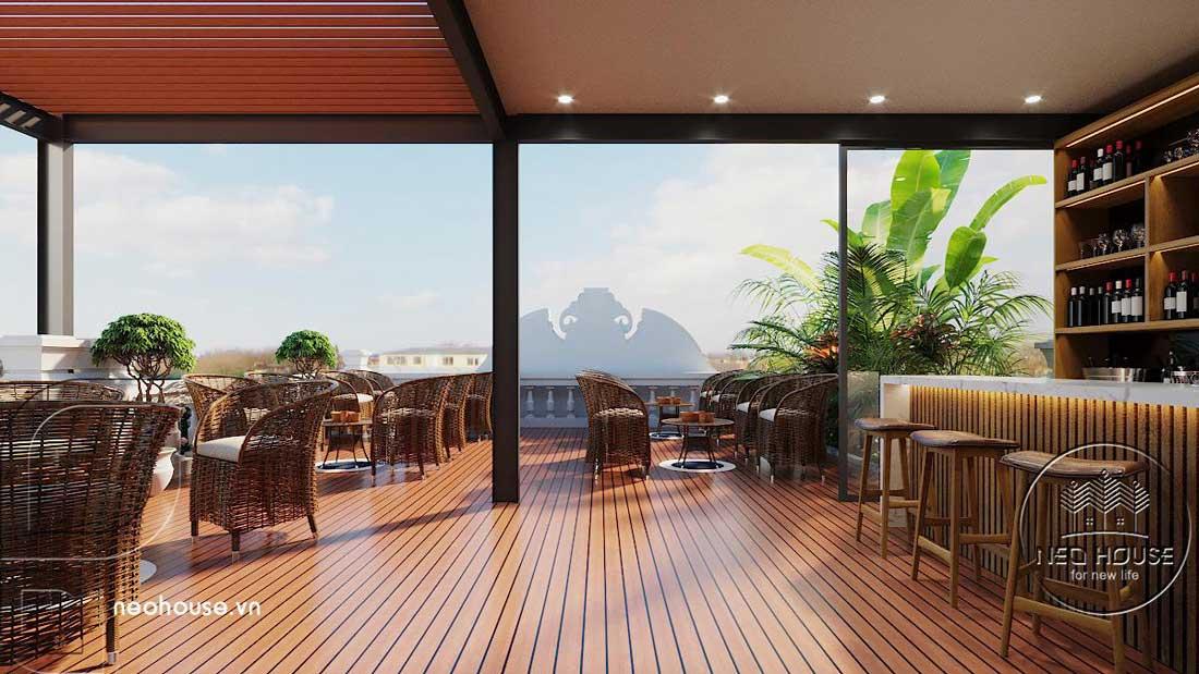 Phối cảnh sân thượng trước là cafe sáng và nơi thư giãn. Ảnh 2