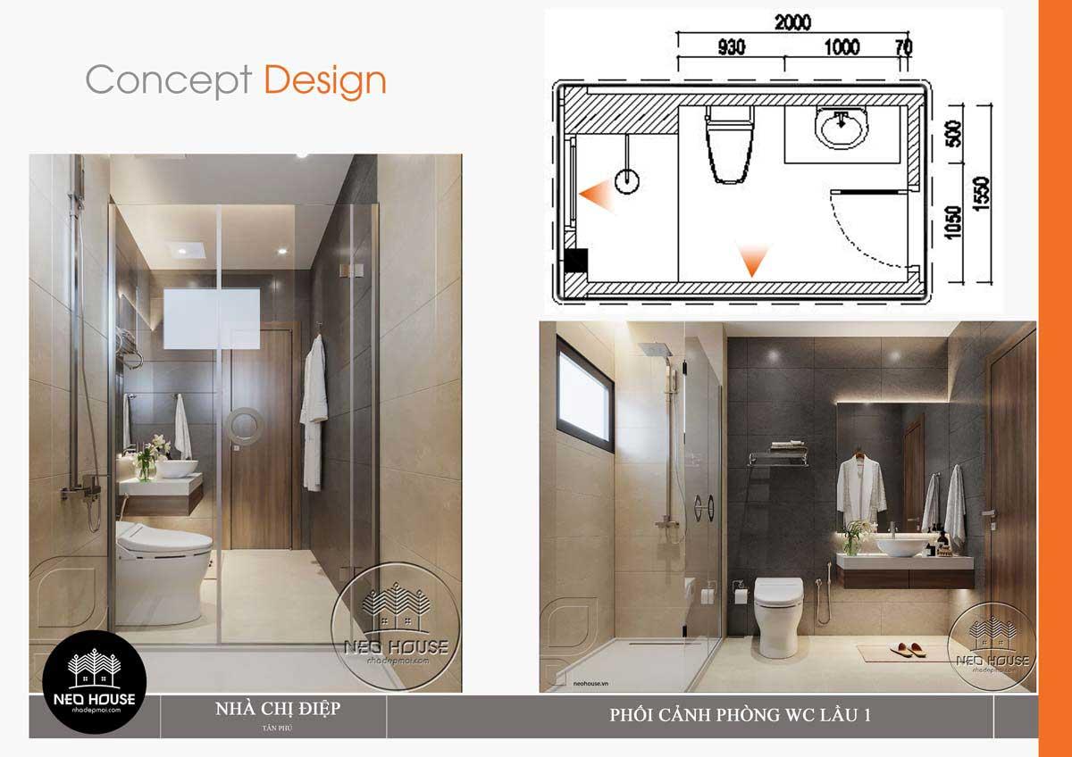 Thiết kế nội thất phòng wc lầu 1 nhà phố mặt tiền 8m