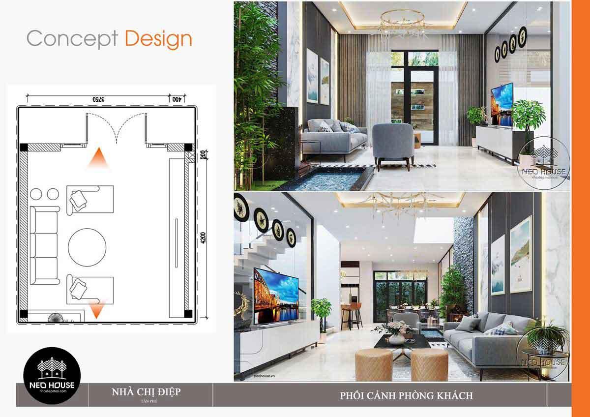 Thiết kế nội thất phòng khách nhà phố mặt tiền 8m. Ảnh 2