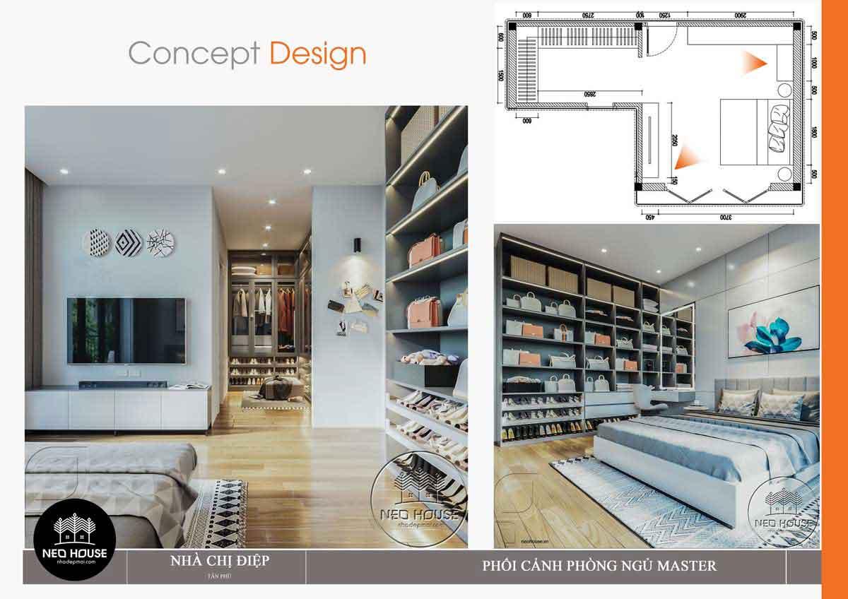 Thiết kế nội thất phòng ngủ master nhà phố mặt tiền 8m