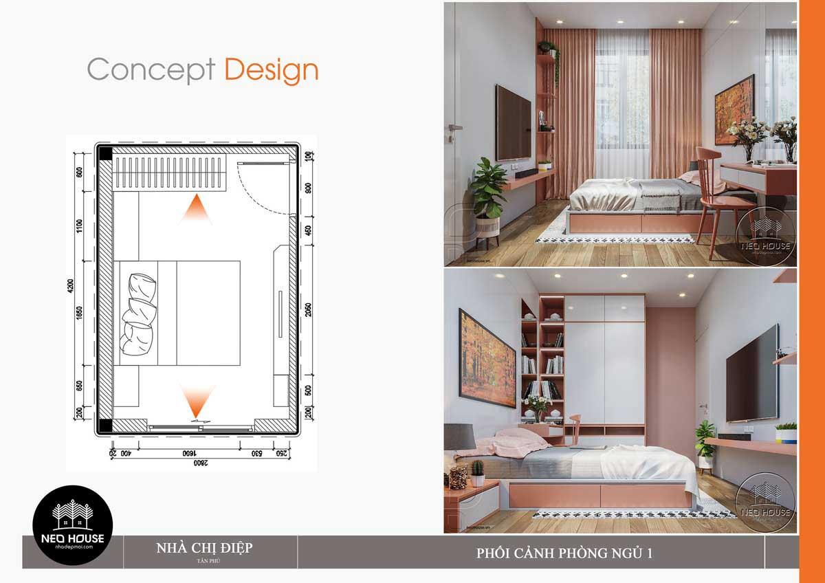 Thiết kế nội thất phòng ngủ 1 nhà phố mặt tiền 8m