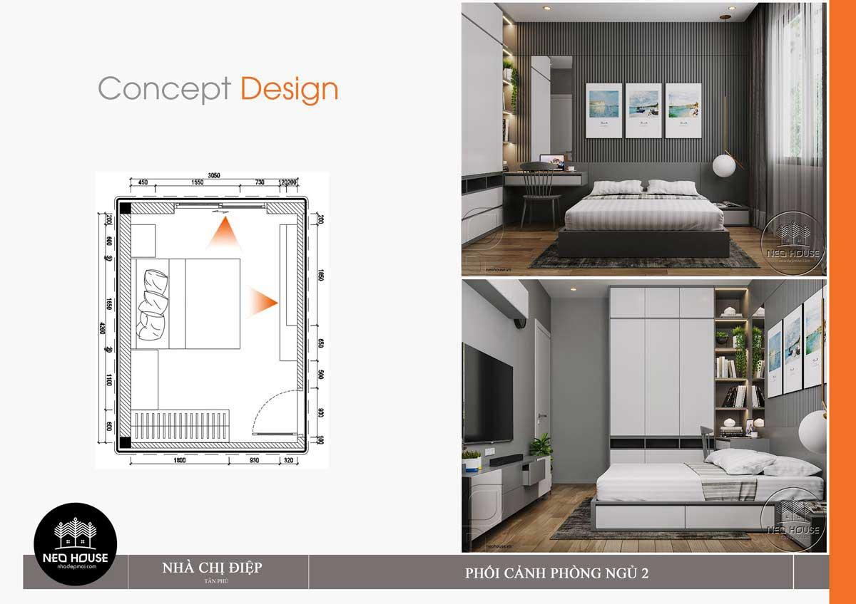 Thiết kế nội thất phòng ngủ 2 nhà phố mặt tiền 8m