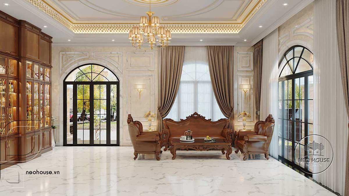 Thiết kế nội thất tân cổ điển biệt thự 3 tầng phòng khách. Ảnh 1