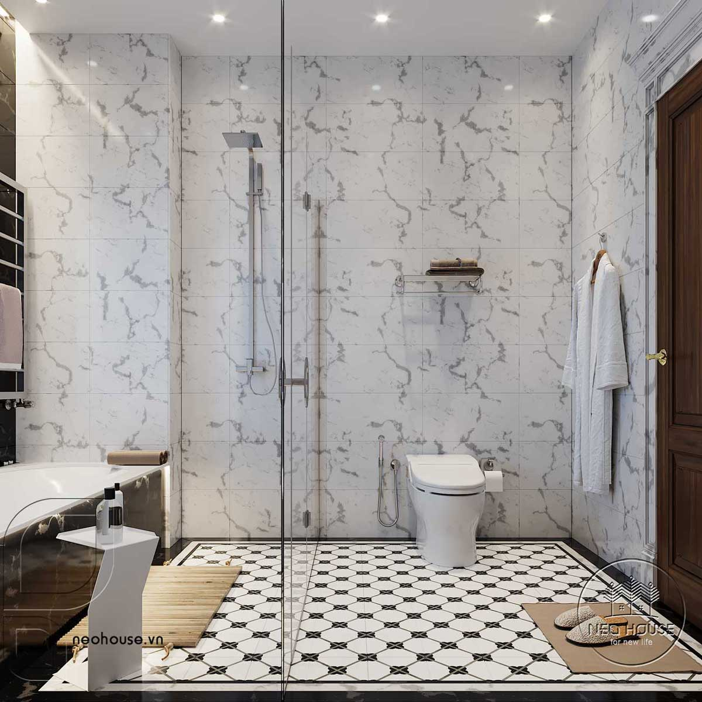 Thiết kế nội thất tân cổ điển biệt thự 3 tầng phòng WC tầng trệt. Ảnh 1