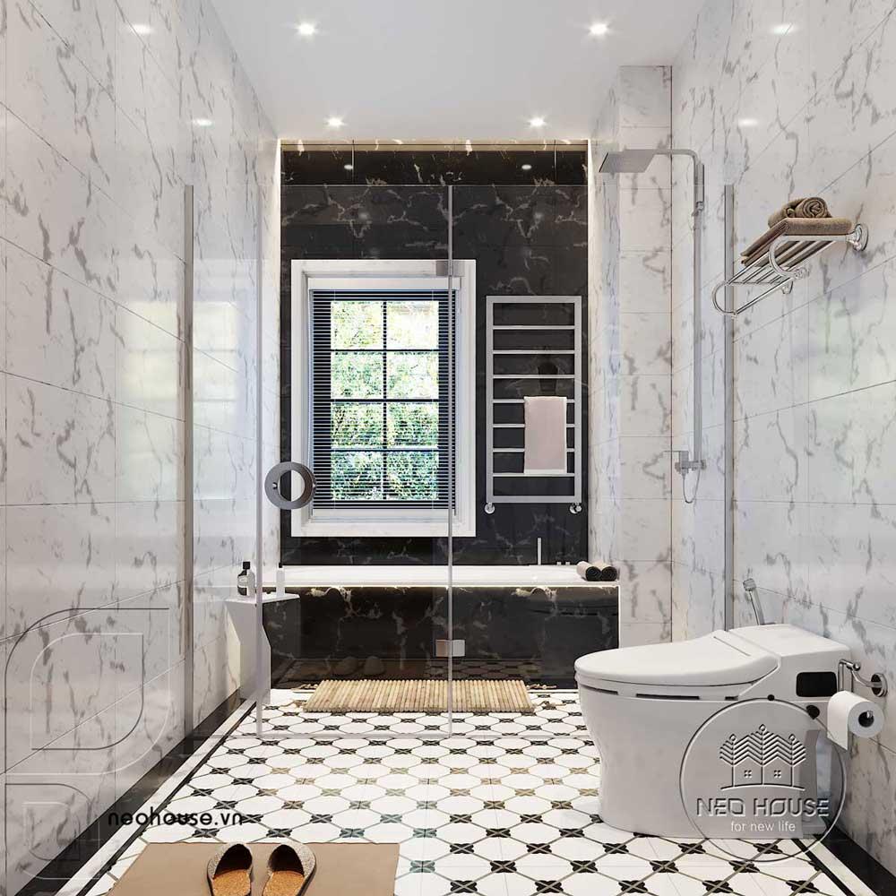 Thiết kế nội thất tân cổ điển biệt thự 3 tầng phòng WC tầng trệt. Ảnh 2