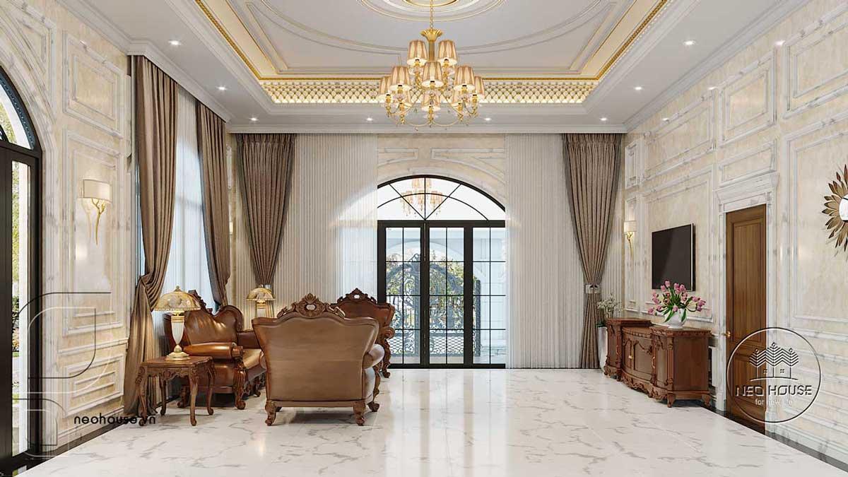 Thiết kế nội thất tân cổ điển biệt thự 3 tầng phòng khách. Ảnh 2