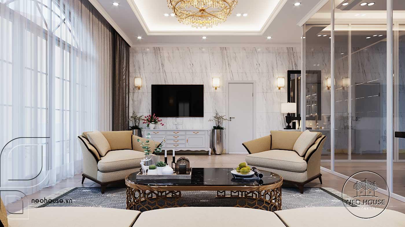 Thiết kế nội thất biệt thự 3 tầng phòng sinh hoạt chung. Ảnh 4
