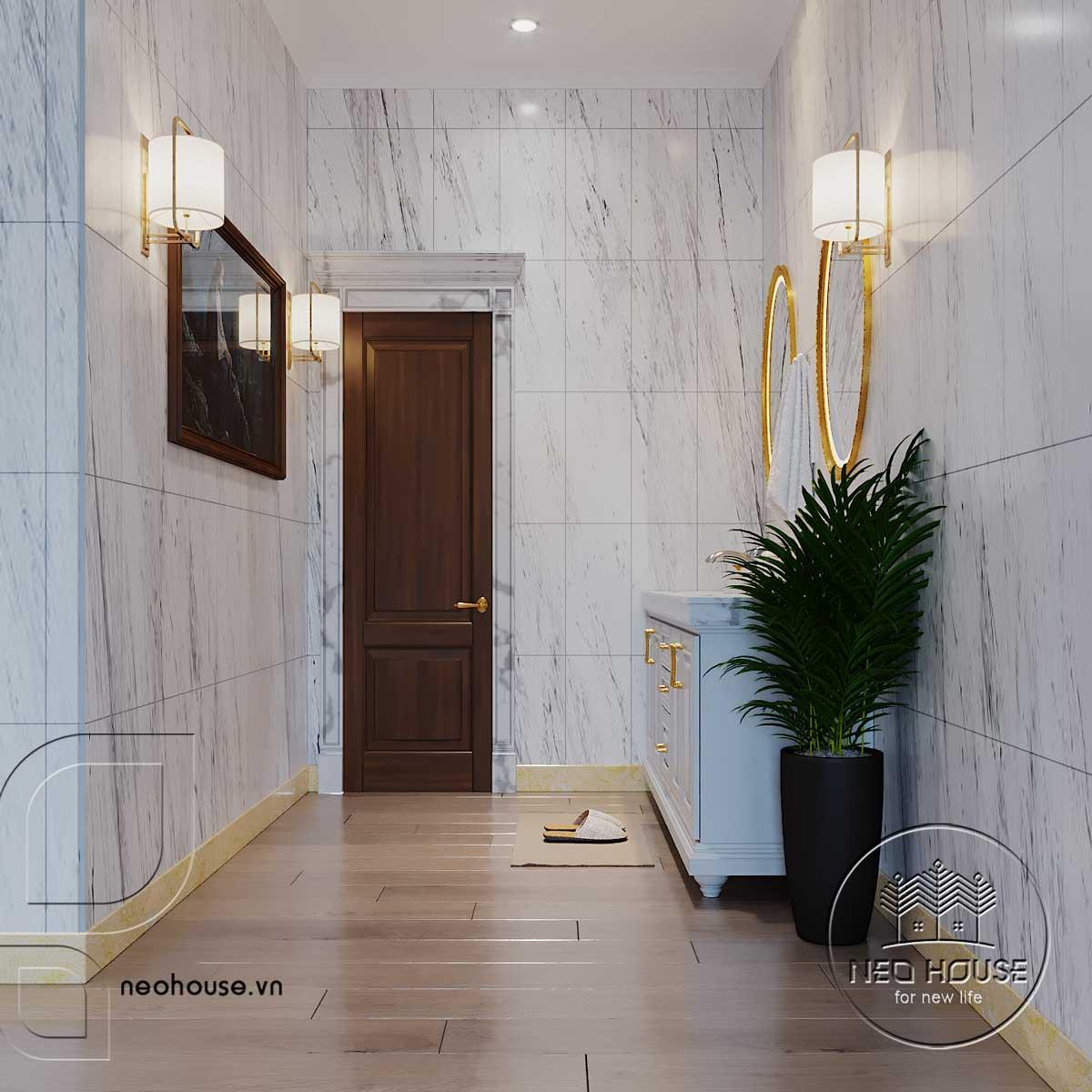 Thiết kế nội thất tân cổ điển biệt thự 3 tầng phòng WC lầu 1. Ảnh 1