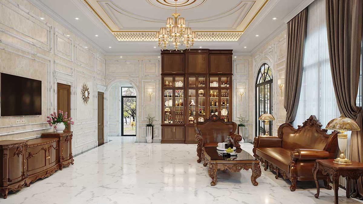 Thiết kế nội thất tân cổ điển biệt thự 3 tầng phòng khách. Ảnh 3