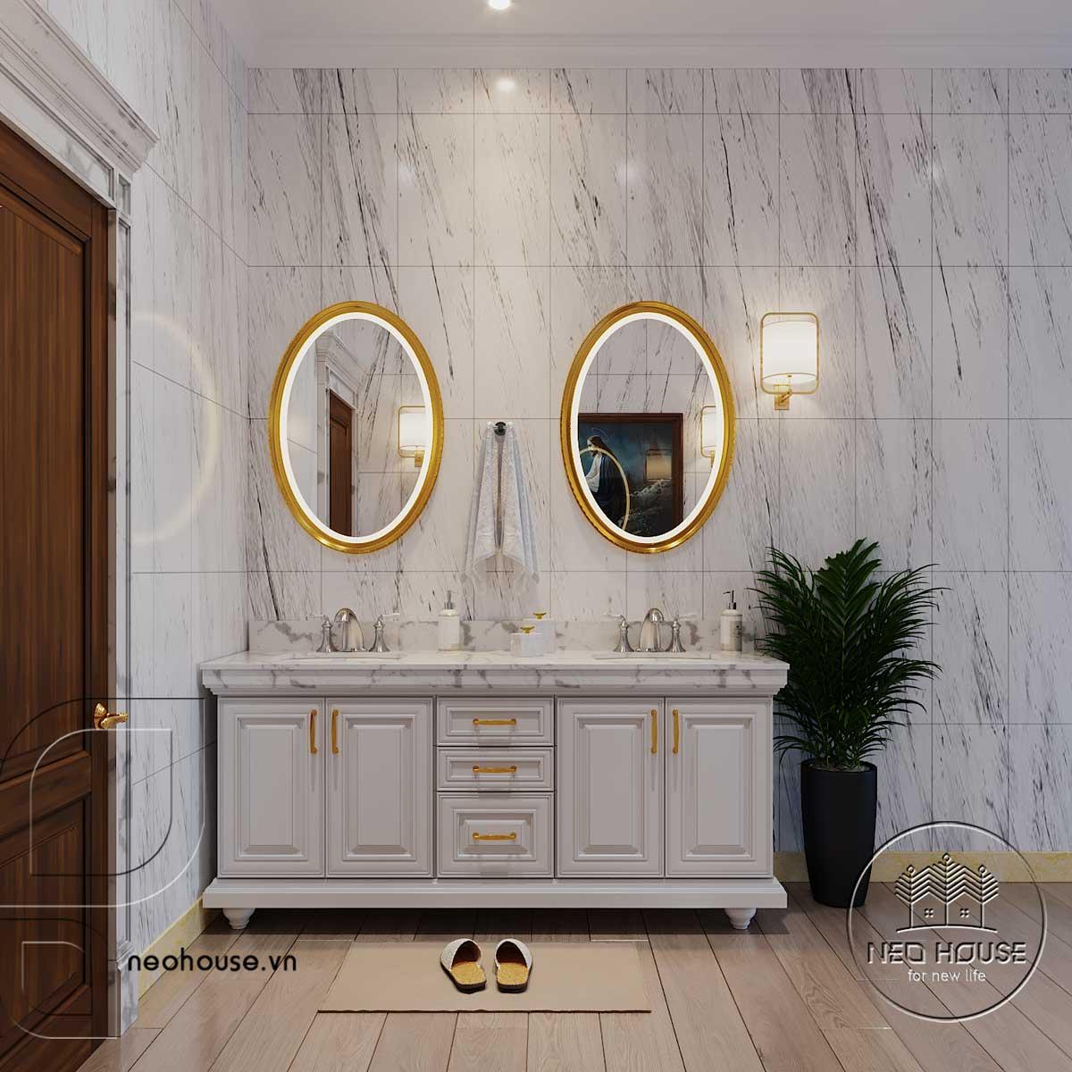 Thiết kế nội thất tân cổ điển biệt thự 3 tầng phòng WC lầu 1. Ảnh 2