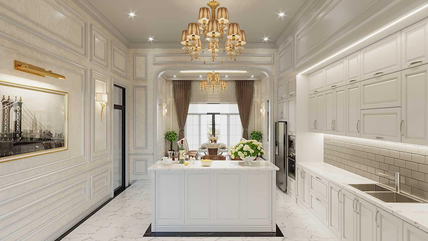 Thiết kế nội thất tân cổ điển biệt thự 3 tầng phòng bếp. Ảnh 2