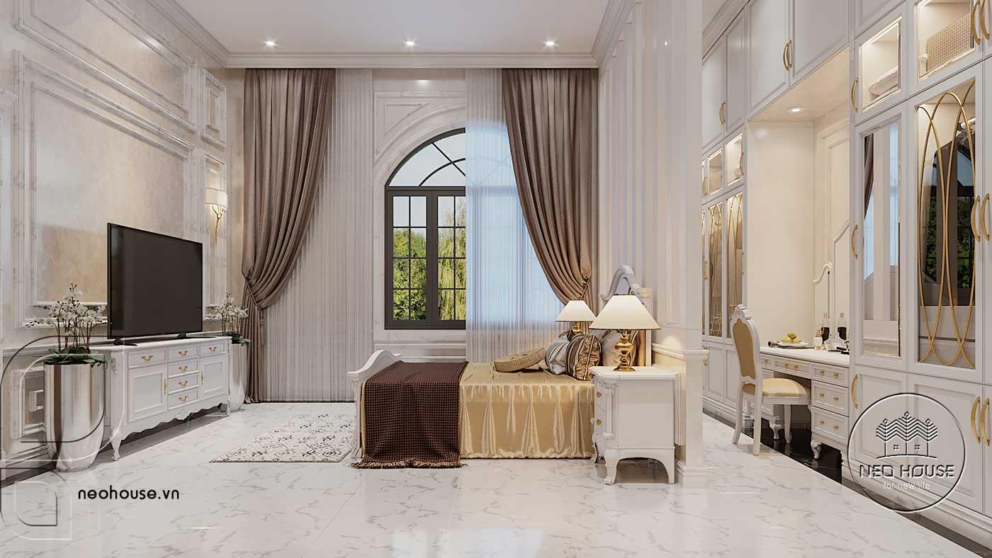Thiết kế nội thất biệt thự 3 tầng phòng ngủ Master. Ảnh 2