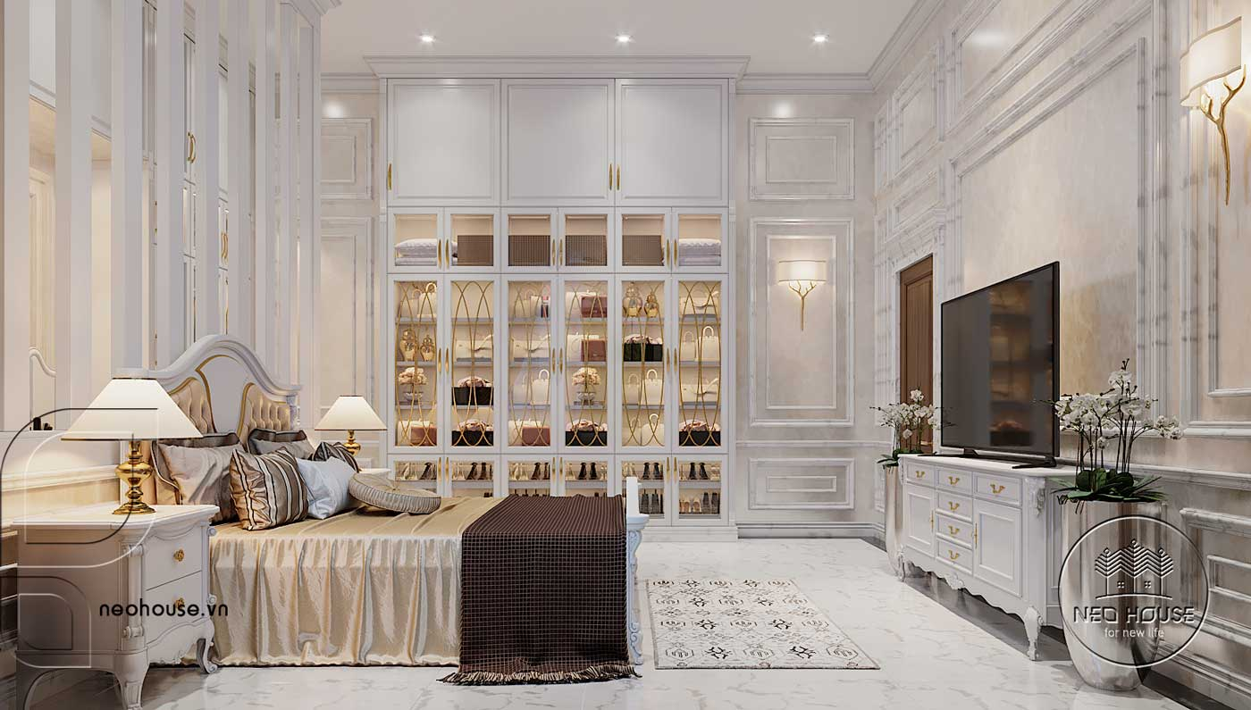 Nội thất phòng ngủ Master biệt thự 3 tầng bán cổ điển