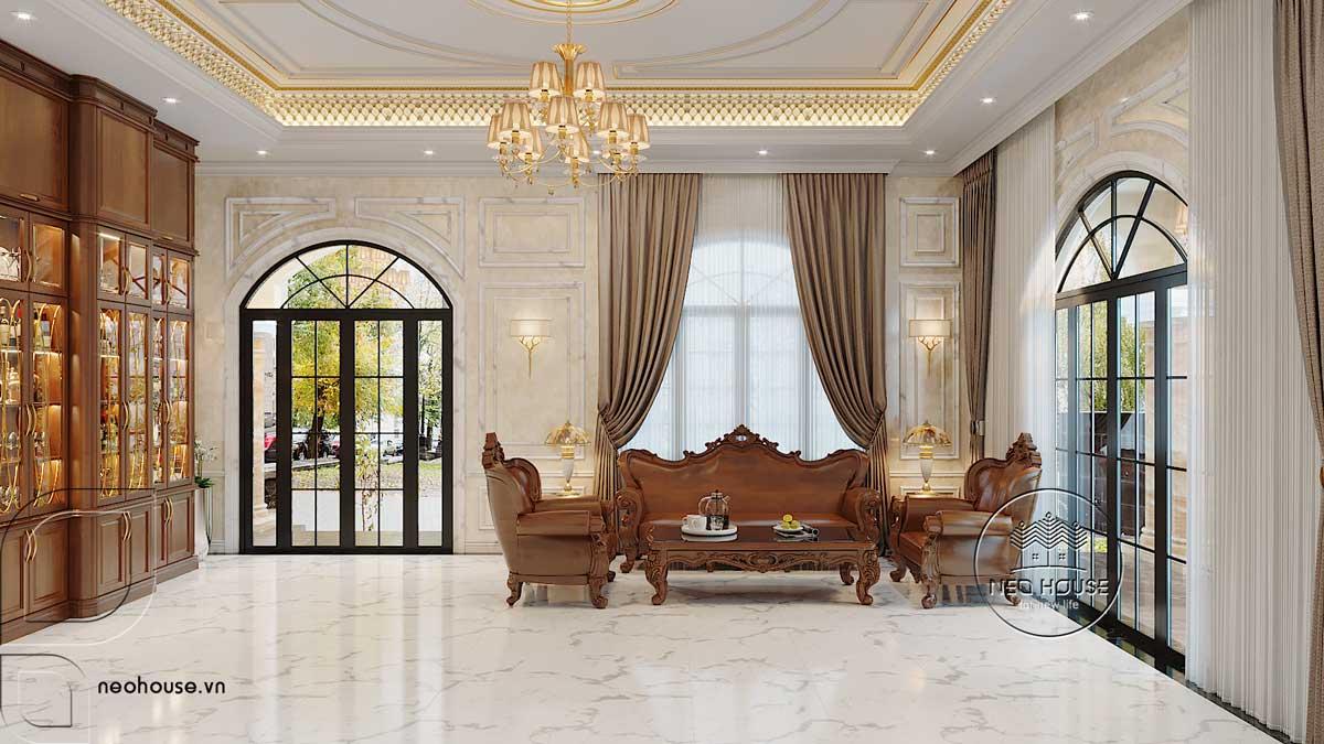 Thiết kế nội thất phòng khách biệt thự 3 tầng bán cổ điển