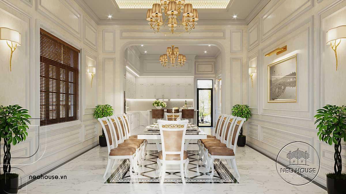 Thiết kế nội thất phòng bếp và phòng ăn biệt thự 3 tầng bán cổ điển