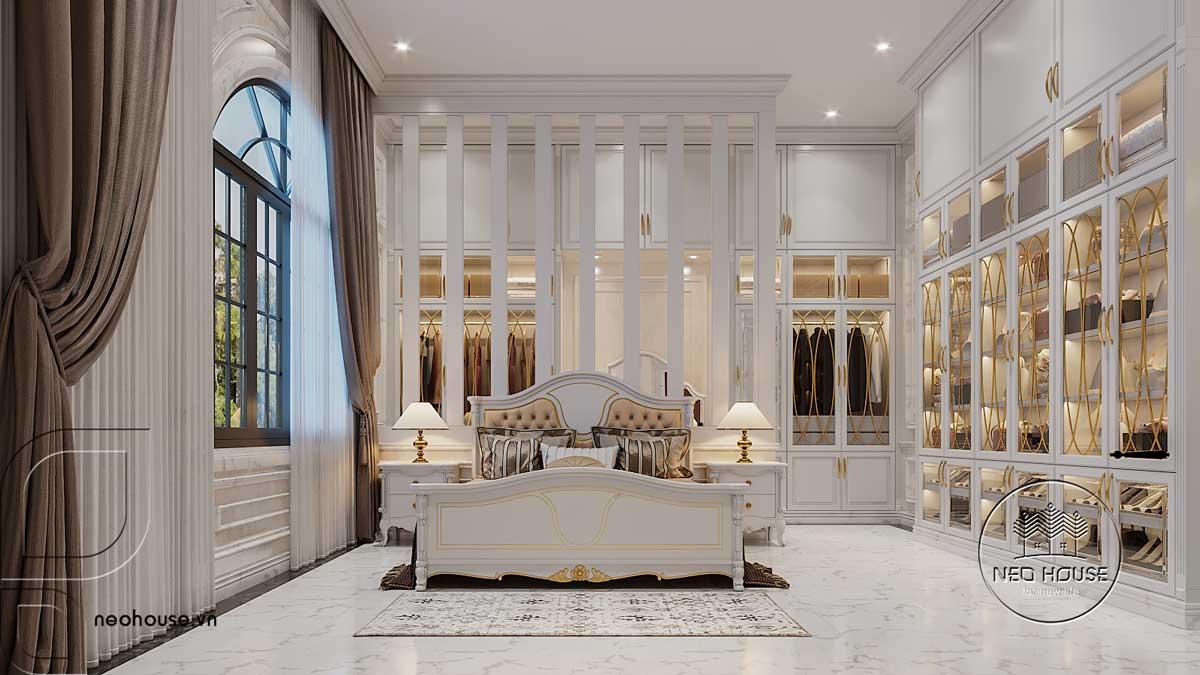 Thiết kế nội thất phòng Master biệt thự 3 tầng bán cổ điển
