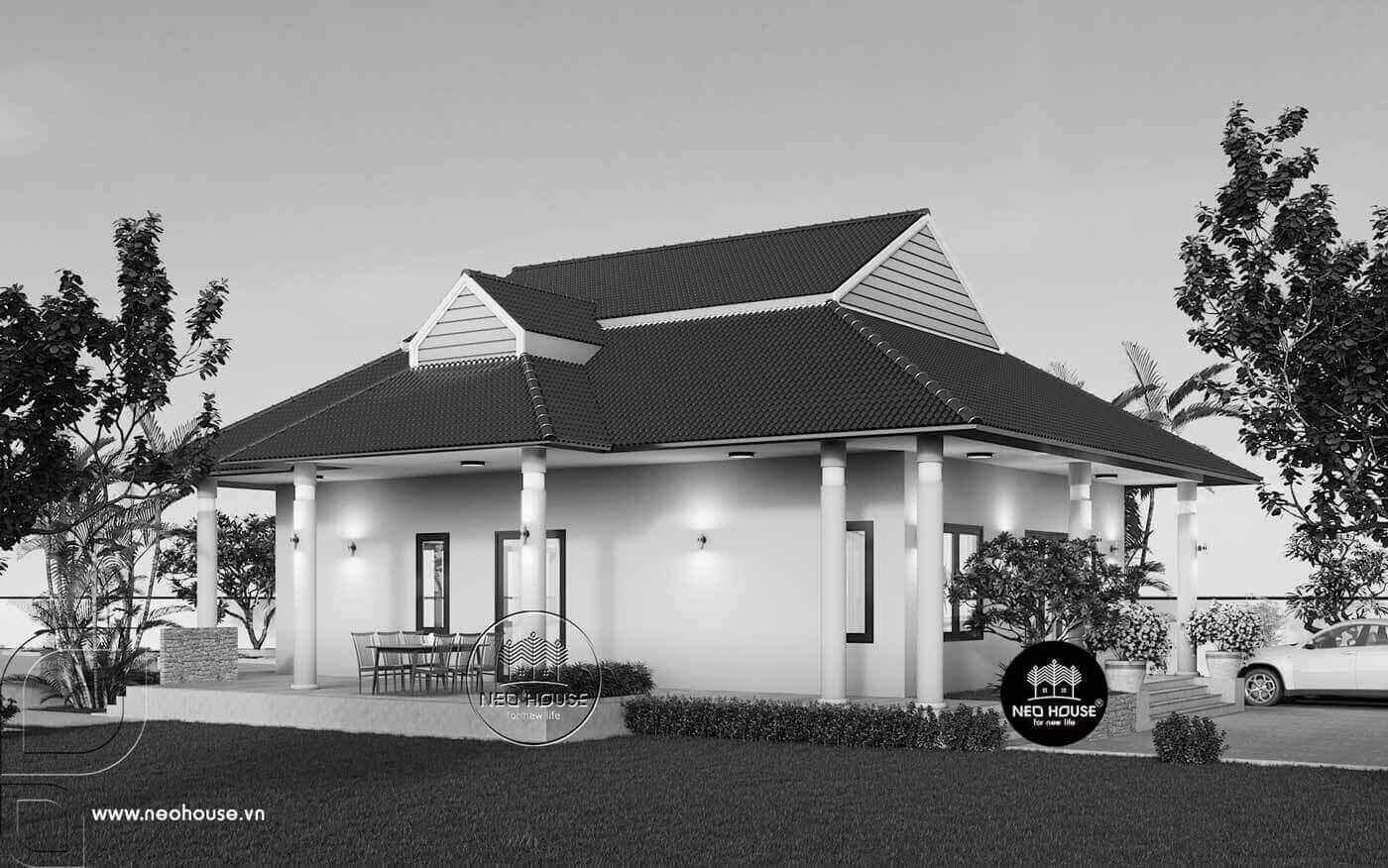 Thiết kế biệt thự trệt mái thái kết hợp sân vườn