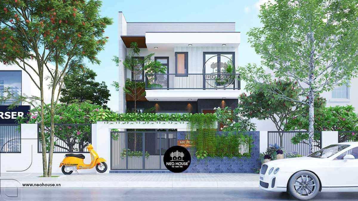 Mẫu thiết kế nhà phố 2 tầng mặt tiền 7m