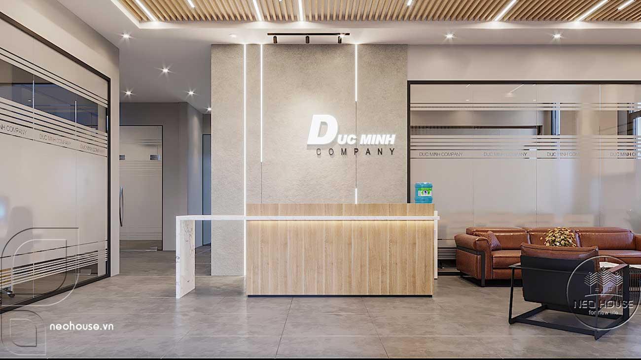Thiết kế nội thất văn phòng công ty khu vực lễ tân