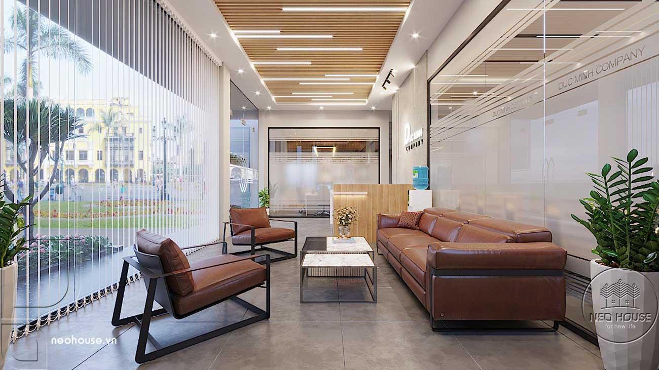 Thiết kế nội thất văn phòng công ty khu vực tiếp khách. Ảnh 1