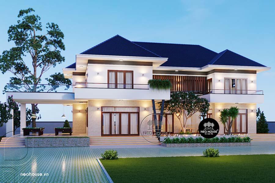 Mẫu Biệt Thự Đẹp 2 Tầng Mái Thái Hiện Đại 12x15m Tại TPHCM