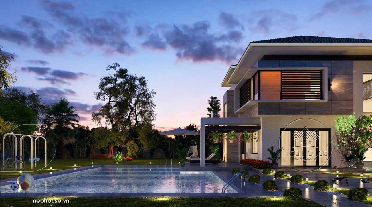Biệt thự mini đẹp 2 tầng có hồ bơi. Ảnh 5
