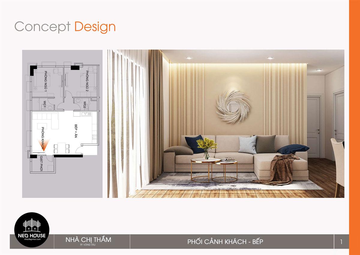 Thiết kế nội thất chung cư 53m2. Ảnh 2
