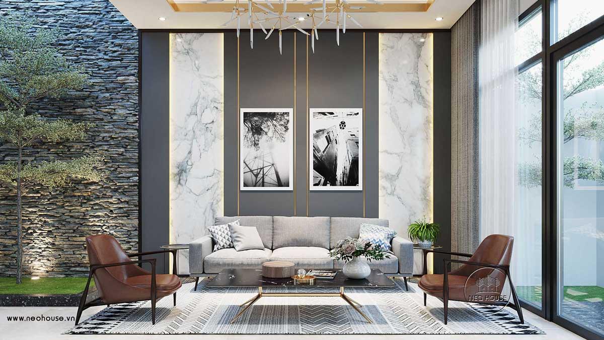 Thiết kế nội thất phòng khách hiện đại. Ảnh 2
