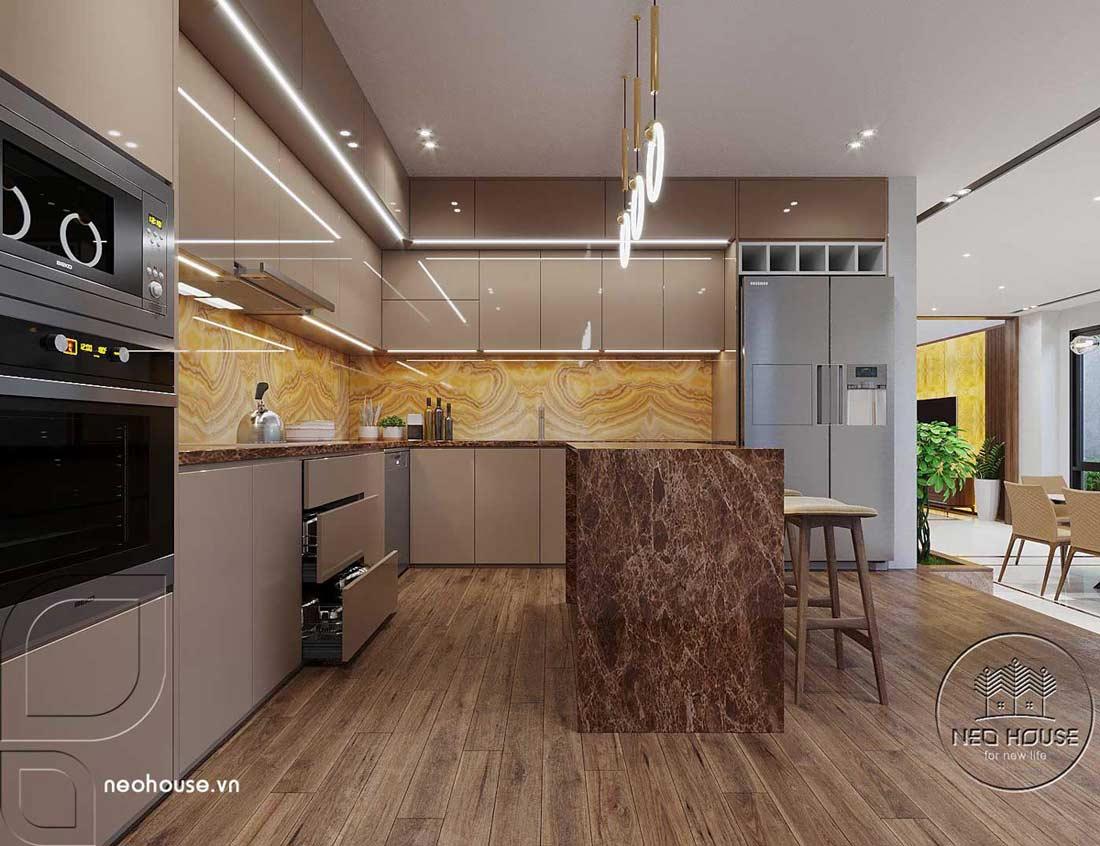 Nội thất phòng bếp đẹp biệt thự hiện đại 3 tầng