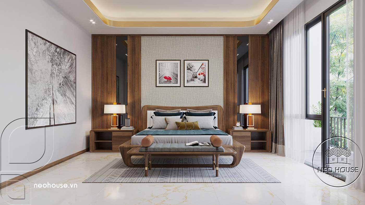 Mẫu nội thất phòng ngủ master 2 biệt thự hiện đại 3 tầng