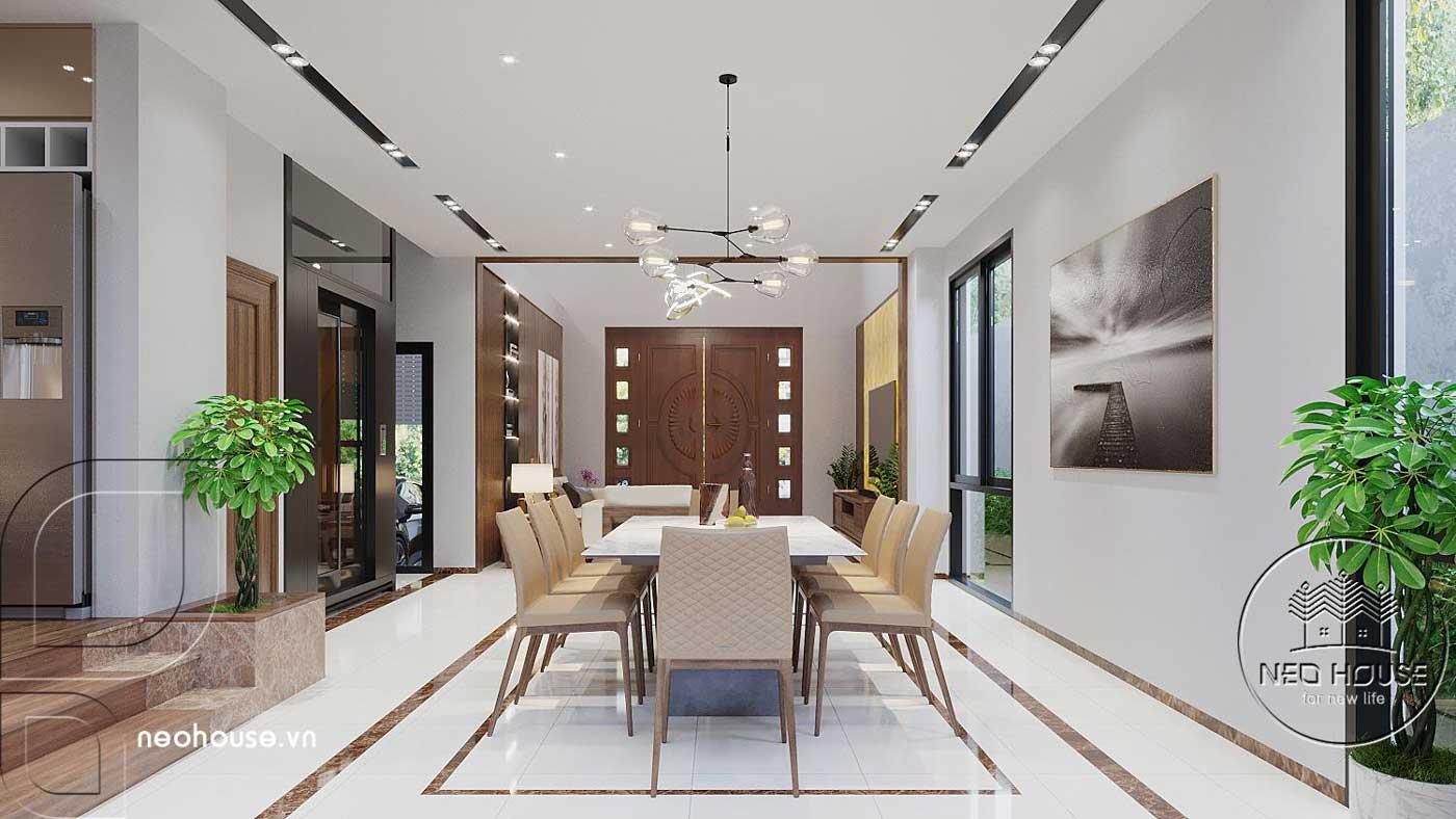 Mẫu thiết kế nội thất phòng bếp biệt thự hiện đại 3 tầng
