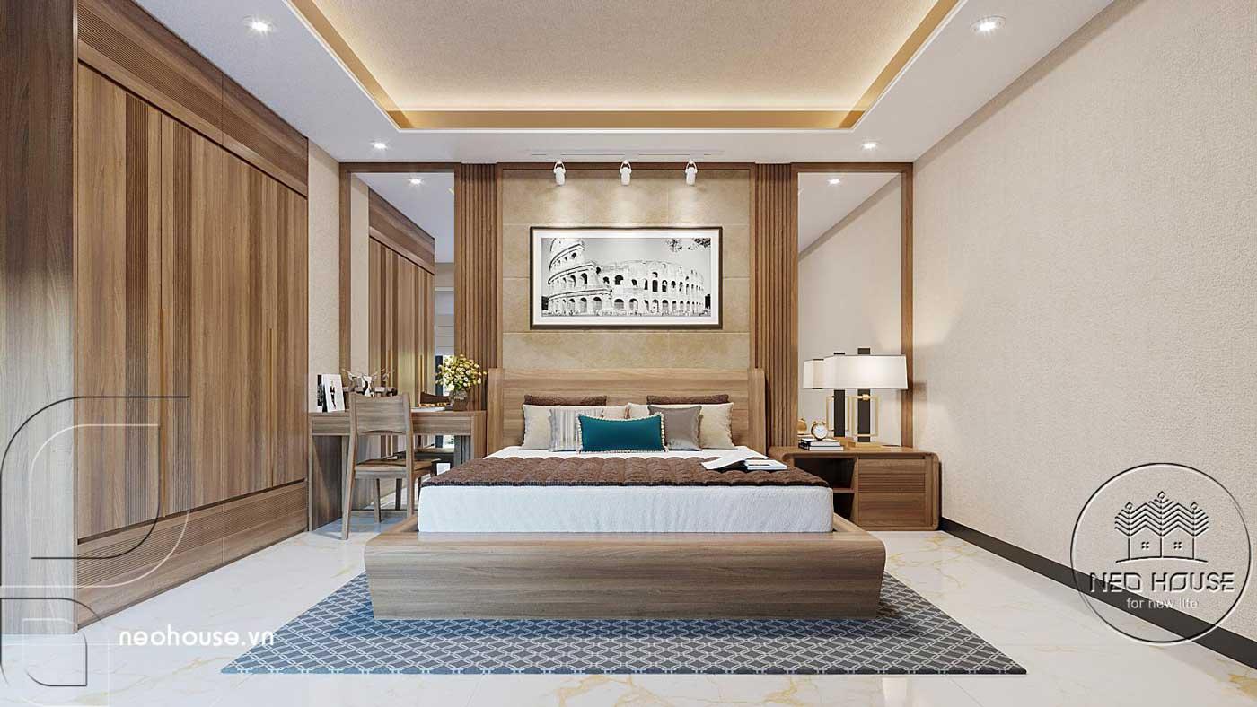 Thiết kế nội thất phòng ngủ master biệt thự hiện đại 3 tầng