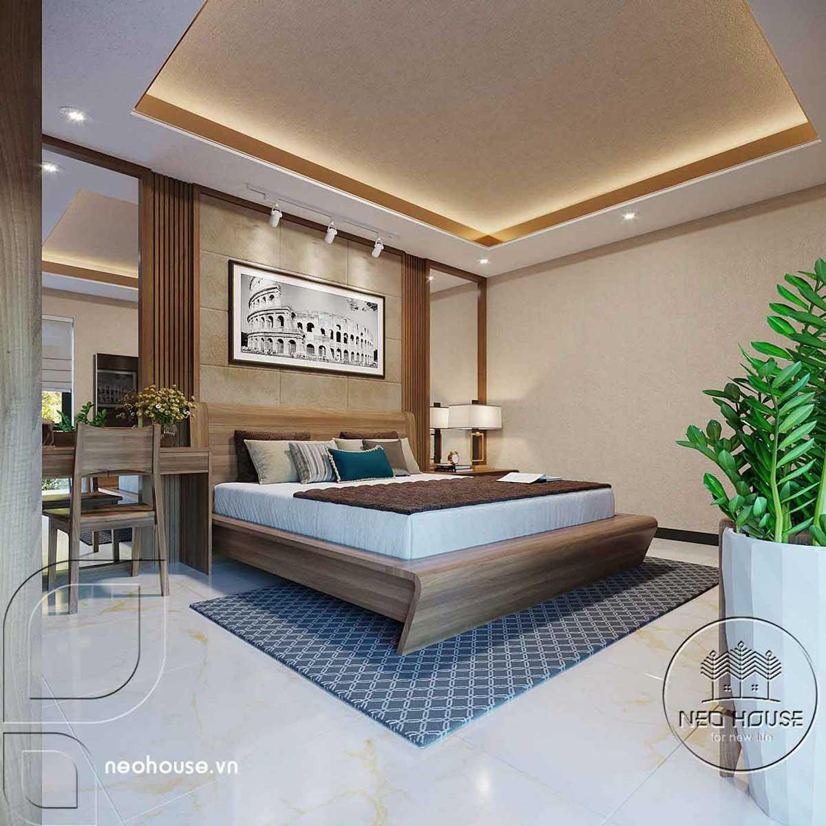Nội thất phòng ngủ master biệt thự hiện đại 3 tầng